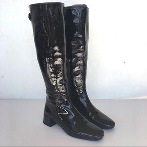 Stuart Weitzman Boots Black Patent Leather Narrow